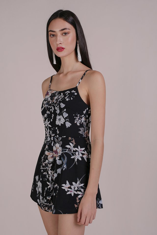 Luci Romper (Black Bouquet)