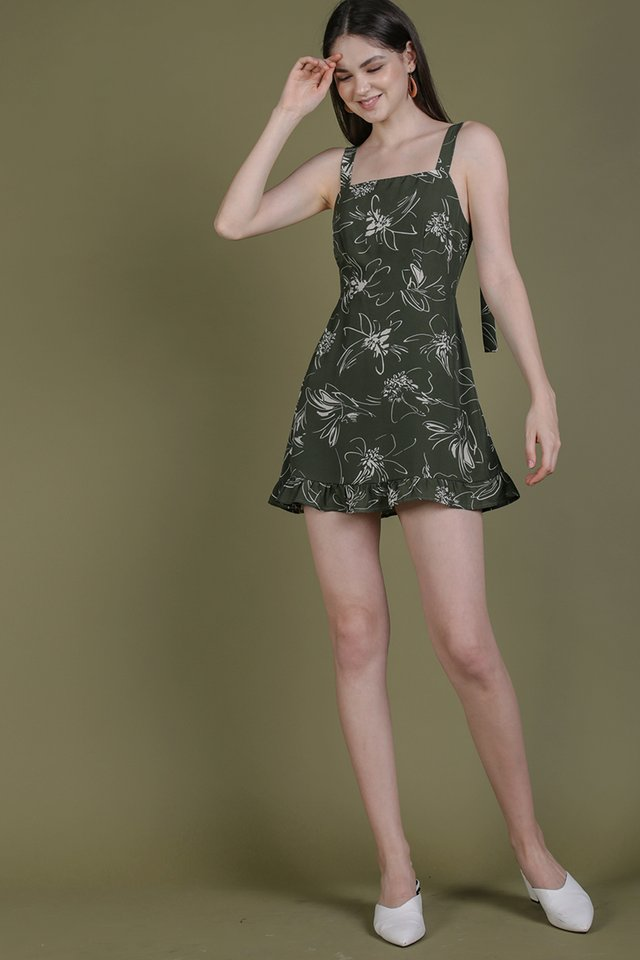 Shay Ruffles Romper (Olive Abstract)