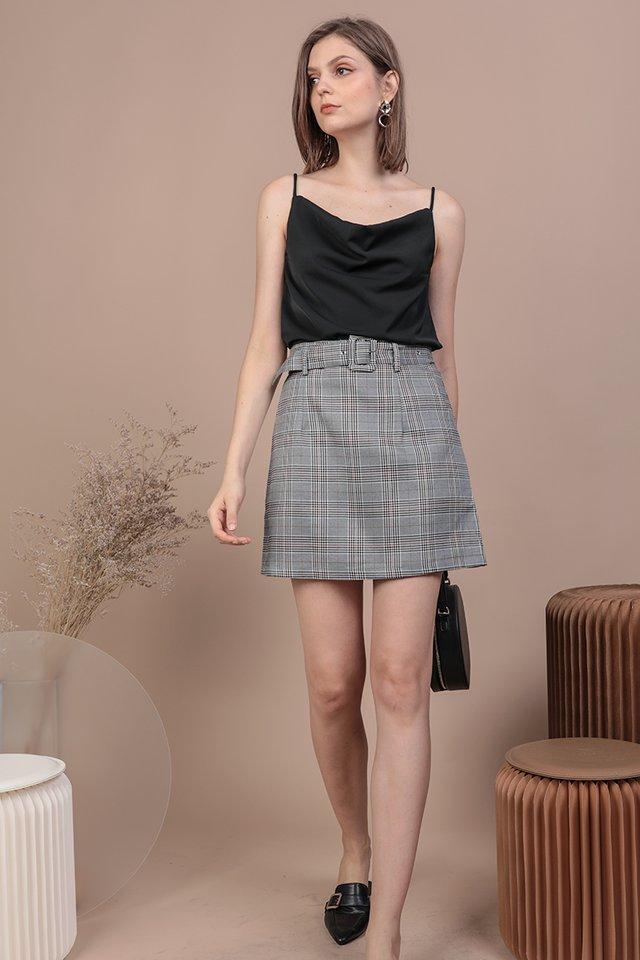 Mitchel Buckle Skirt (Grey Plaids)