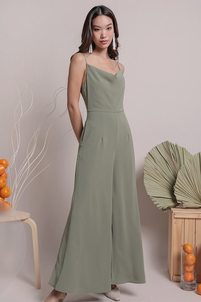 Jayce Cowl Neck Jumpsuit (Sage Green)