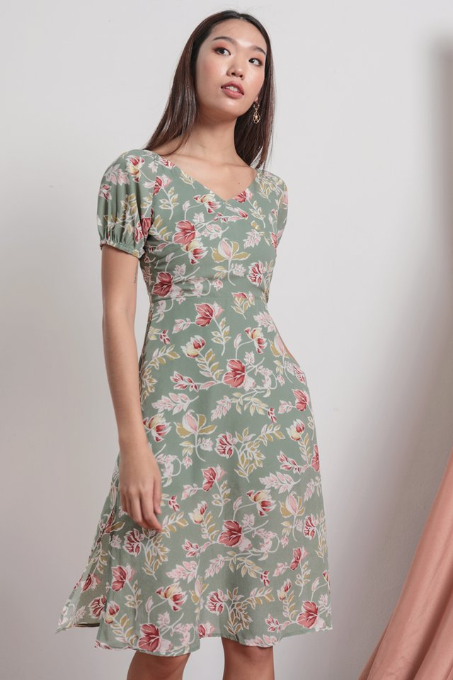 Belle Puffy Sleeve Dress (Sage Florals)