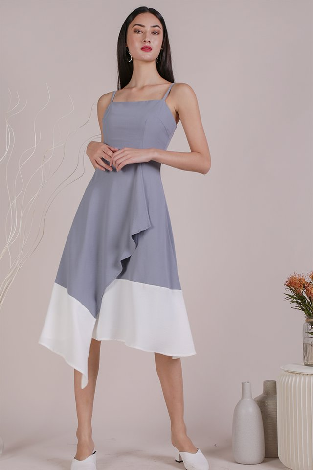 Shelly Colourblock Dress (Grey/White)
