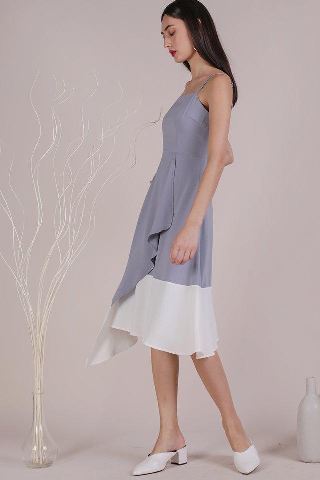 Shelly Colourblock Dress (Grey/White)
