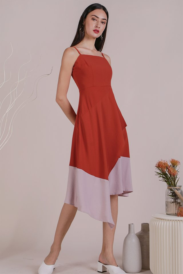 Shelly Colourblock Dress (Rust/Pink)