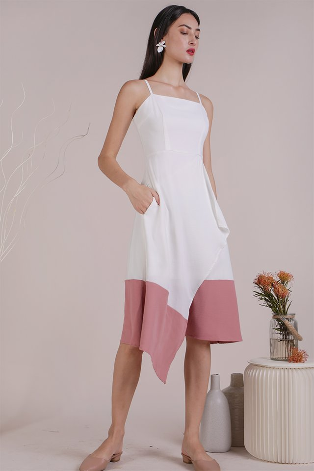 Shelly Colourblock Dress (White/Pink)