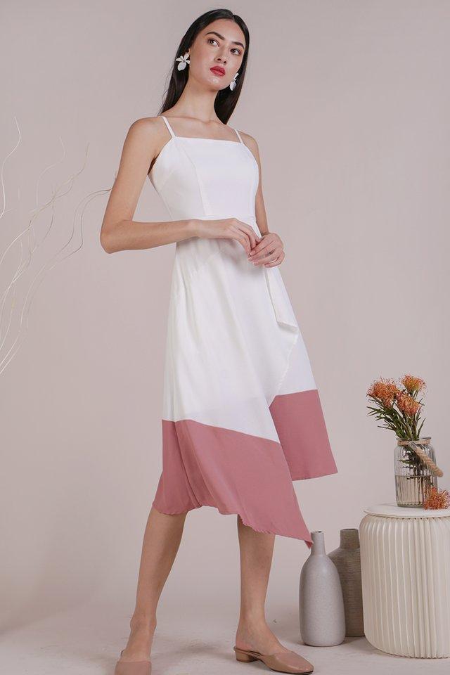 Shelly Colourblock Dress (White/Pink)