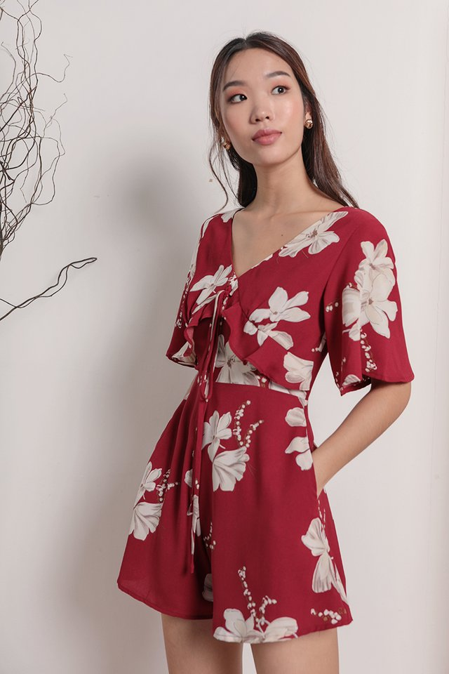 Rosie Sleeved Romper (Red Florals)