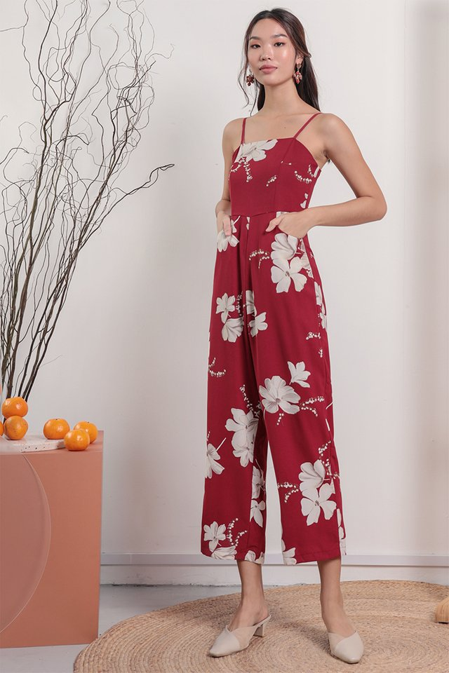 Adelia Jumpsuit (Red Florals)