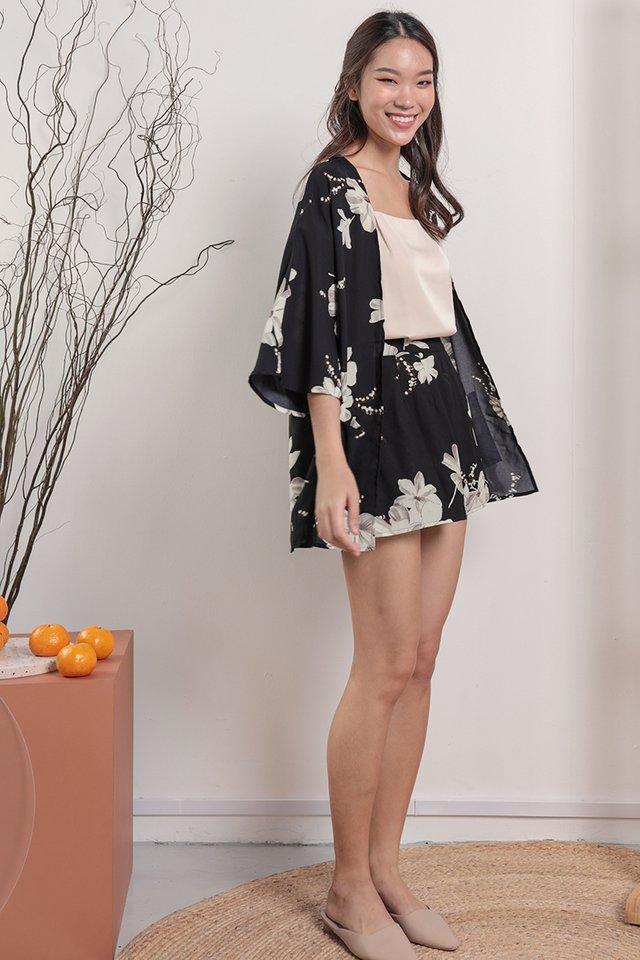 Petal Flare Shorts (Black Florals)