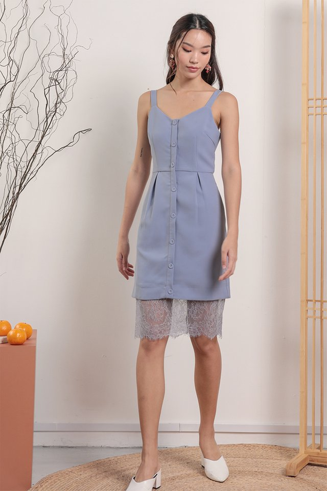 Nikola Lace Hem Dress (Periwinkle)