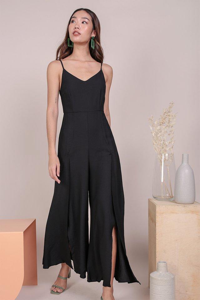 Lynda Split Pants Jumpsuit (Black)