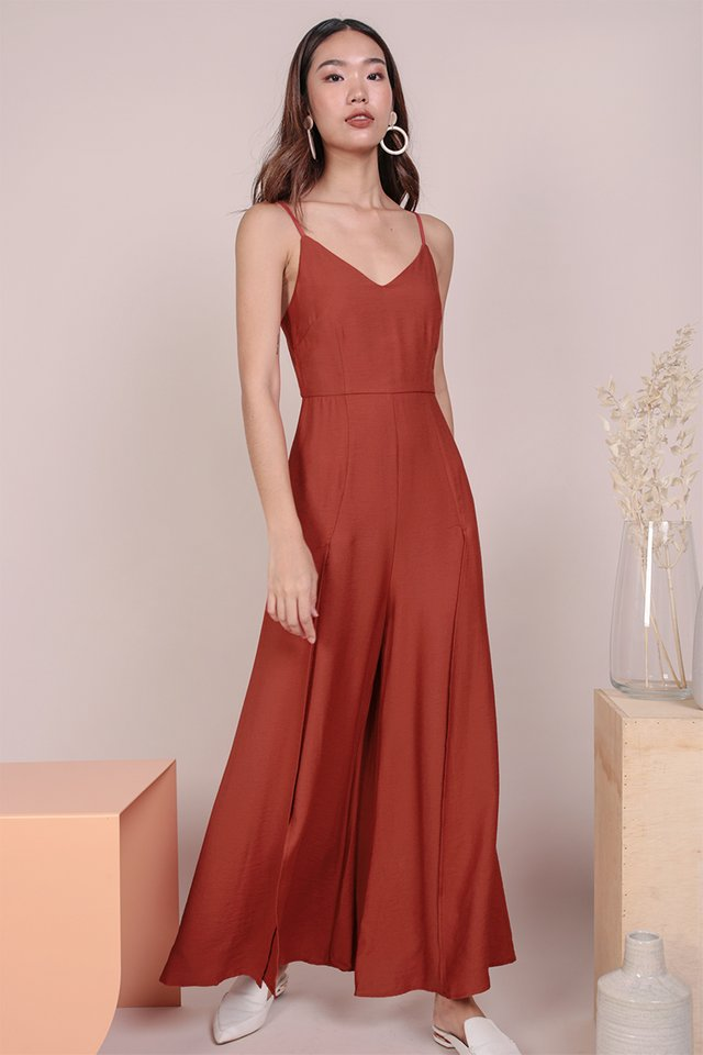 Lynda Split Pants Jumpsuit (Scarlet)