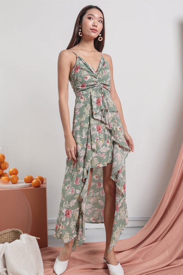 Fionn Ruffles Drawstring Dress (Sage Florals)