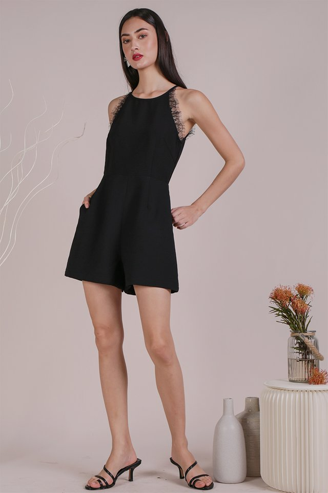 Quinn Lace Trim Romper (Black)