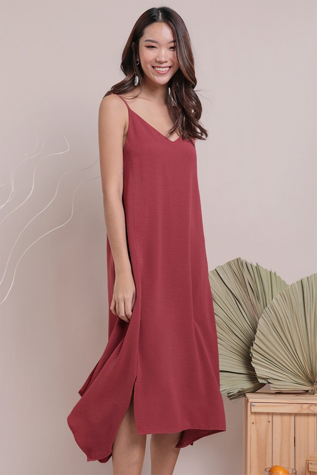 Tayla Slip Dress (Crimson)