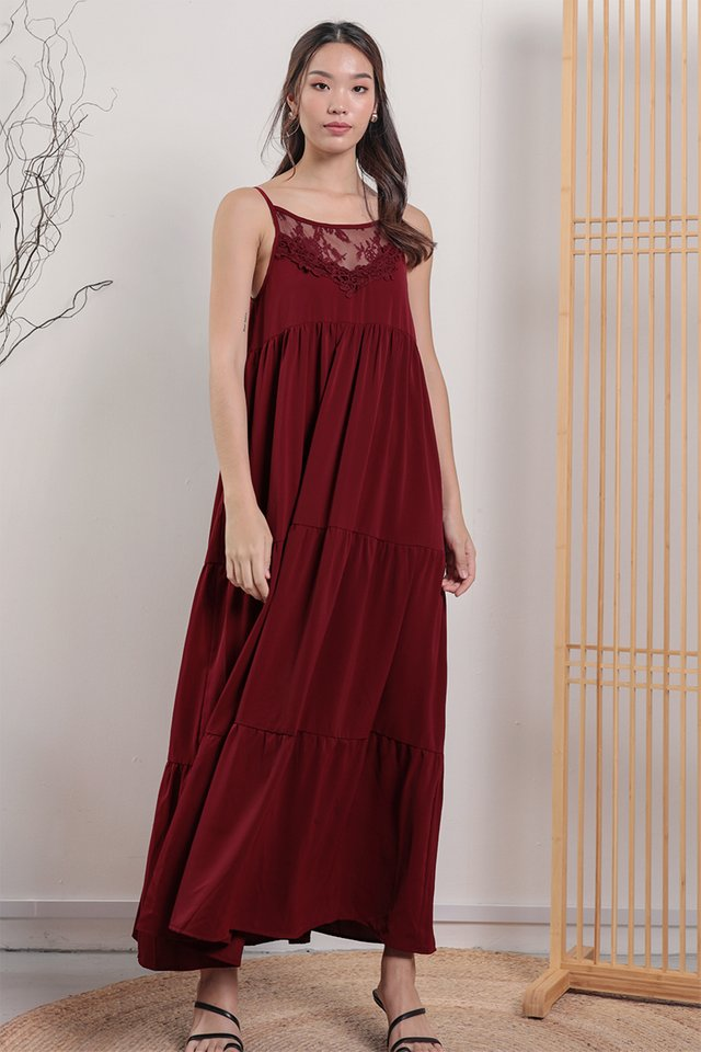 Arla Lace Maxi Dress (Maroon)