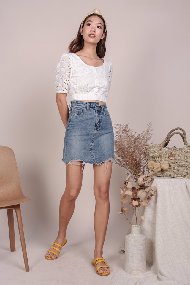 Monica Puffy Sleeve Top (White Eyelet)