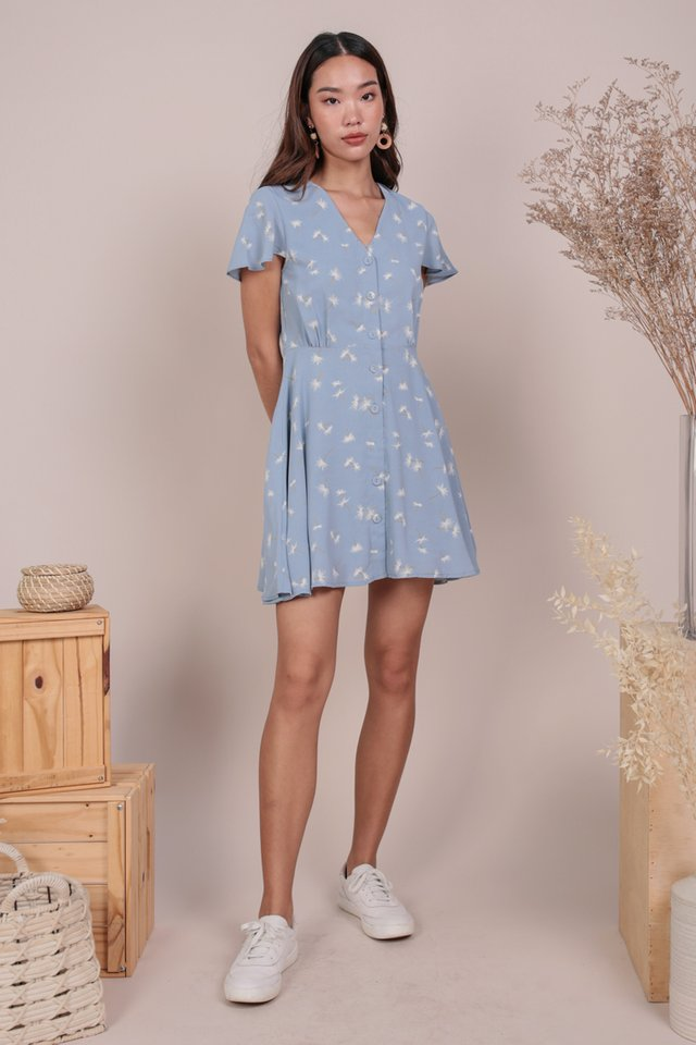 Pris Button Down Dress (Dandelion Blue)