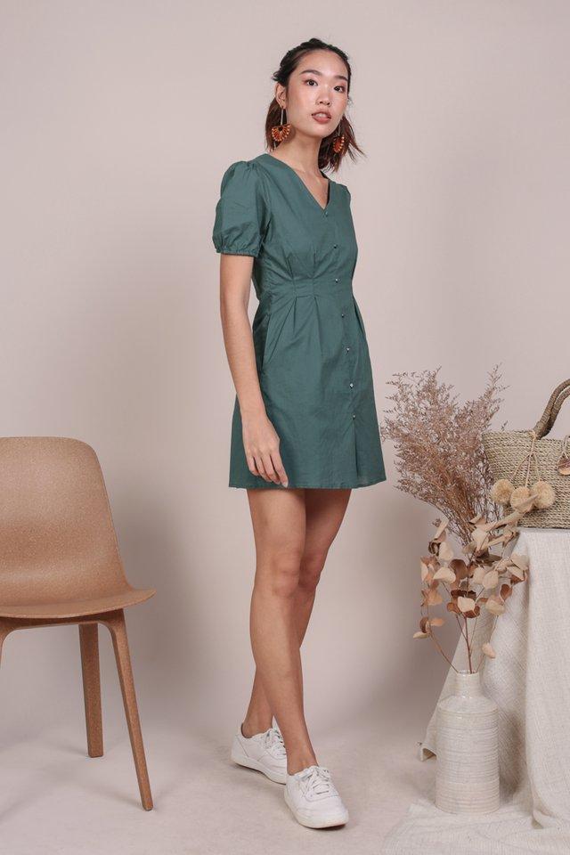 Reya Button Sleeve Dress (Slate Green)