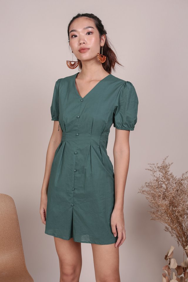Reya Button Sleeve Dress (Slate Green)