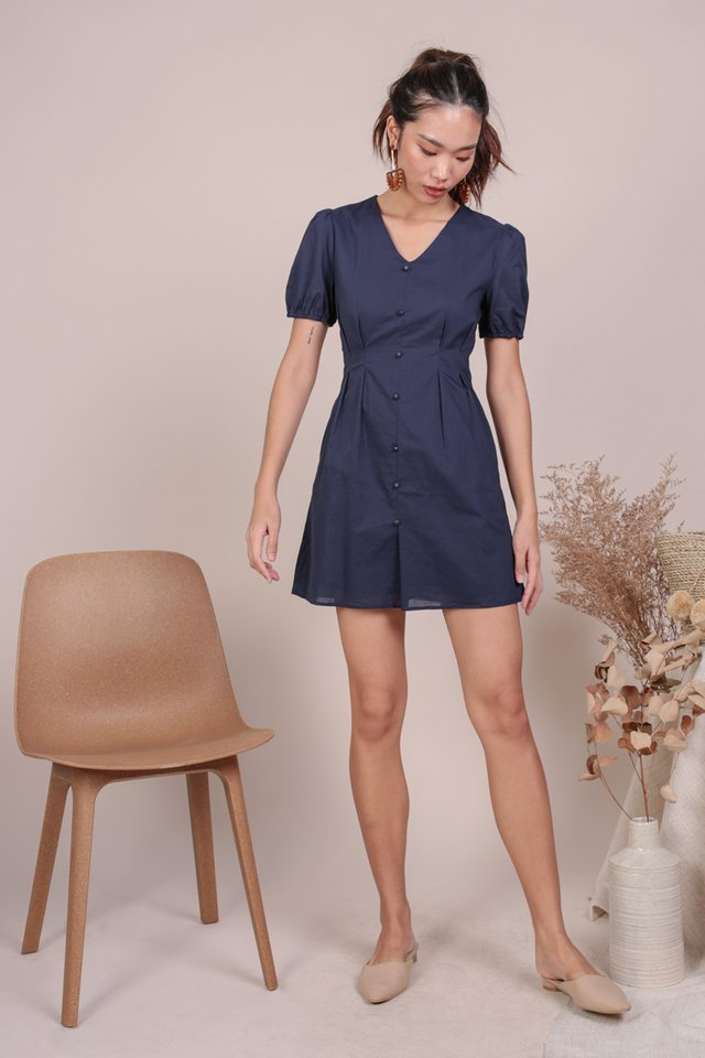 Reya Button Sleeve Dress (Navy)