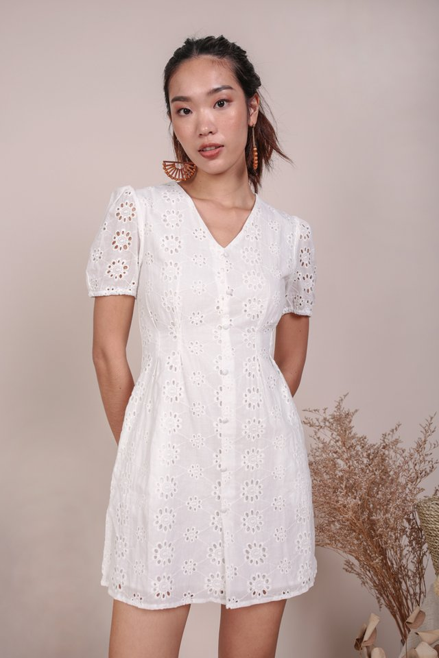 Reya Button Sleeve Dress (White Eyelet)