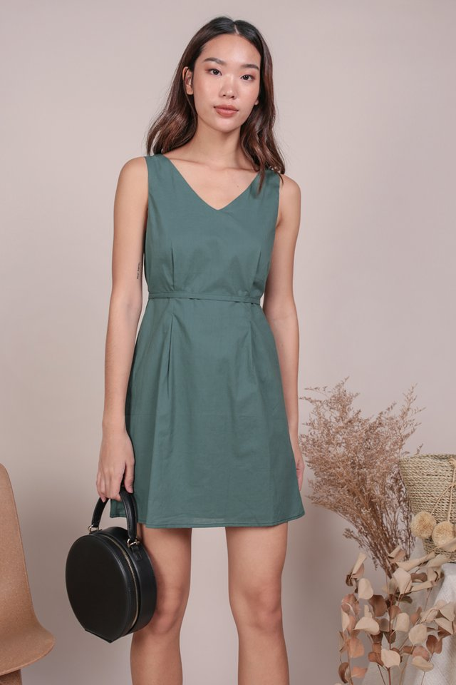Desiree Basic Dress (Slate Green)