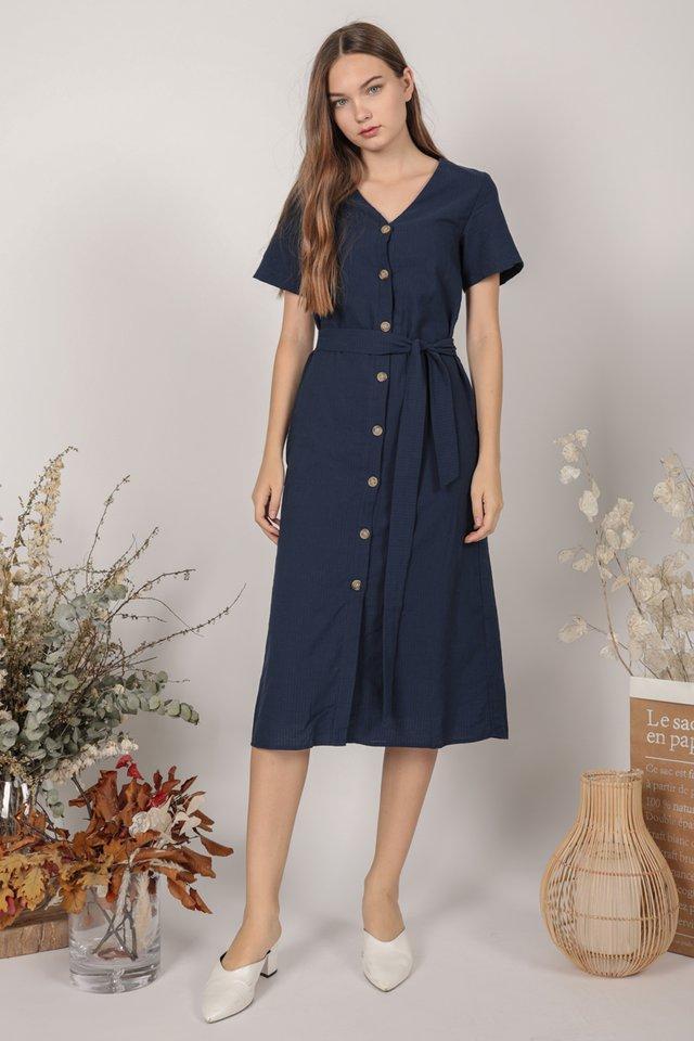 Norah Sleeved Dress (Navy)