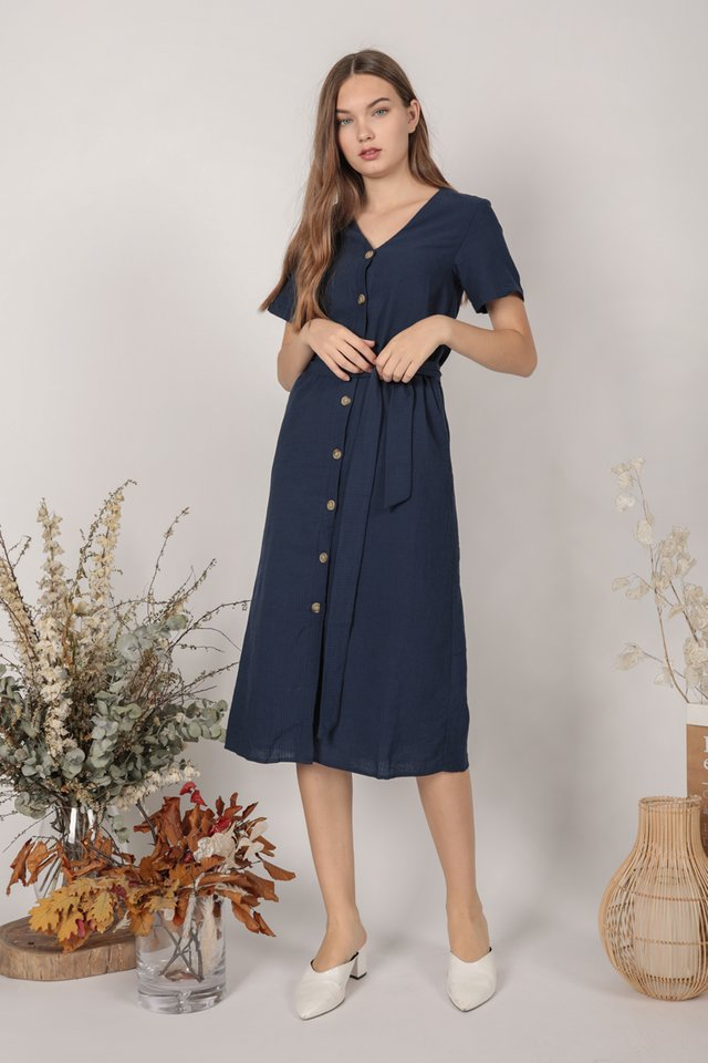 Norah Sleeved Dress (Navy)