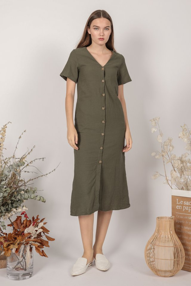 Norah Sleeved Dress  (Olive)