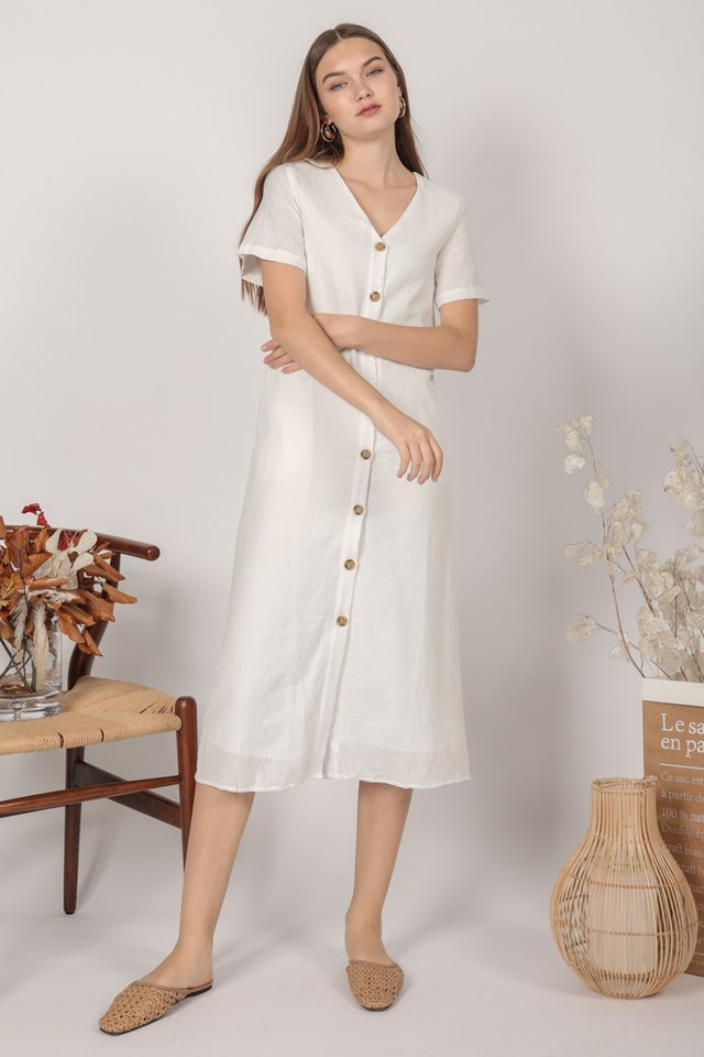 Norah Sleeved Dress (White)