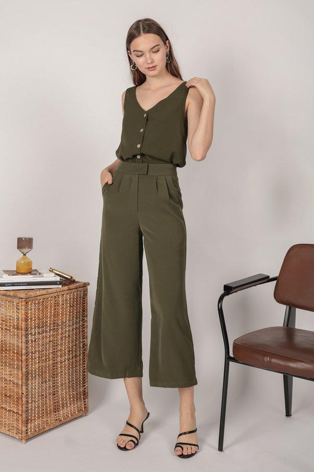 Callen Wide leg Pants (Olive)