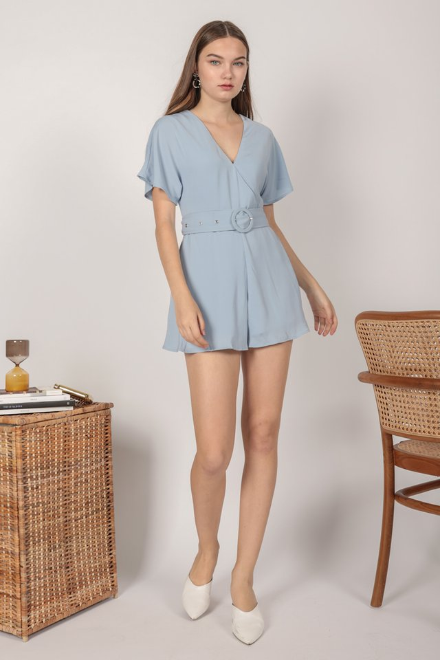 Elissa Wrap Front Romper (Light Blue)