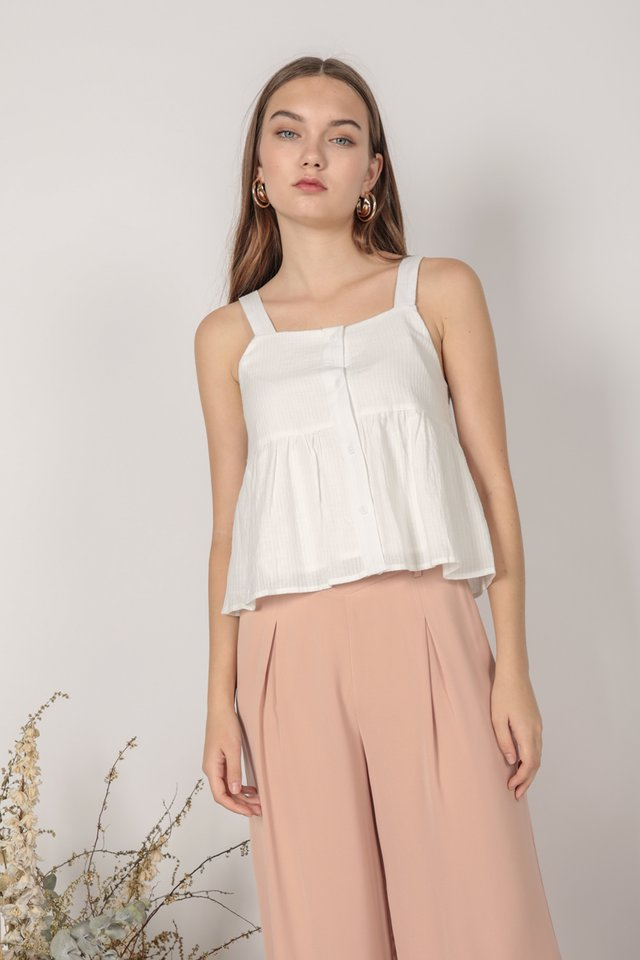 Brit Babydoll Top (White)