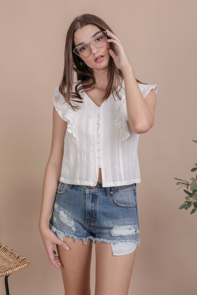 Montana Ruffles Top (White Embroidery)