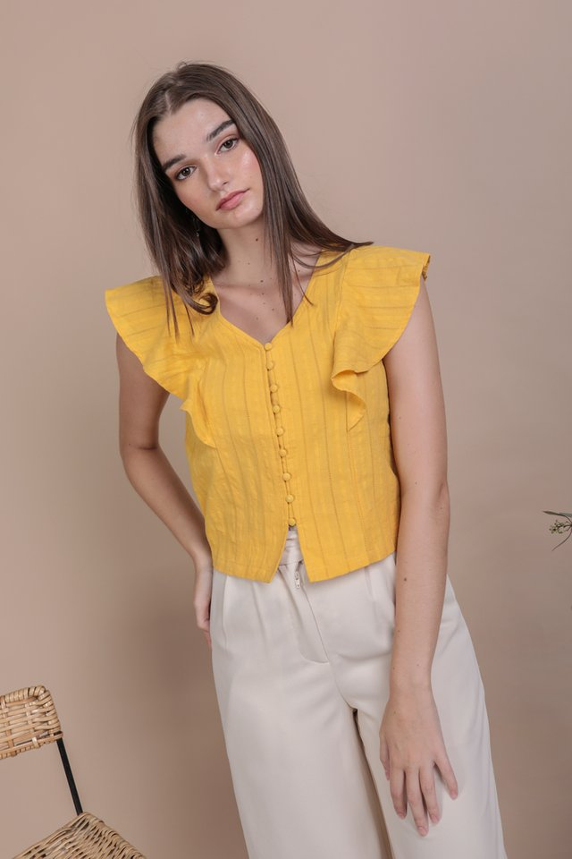 Montana Ruffles Top (Yellow Embroidery)