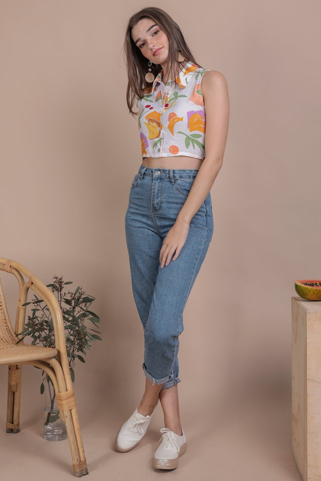 Geller Collared Top (White Tropical)