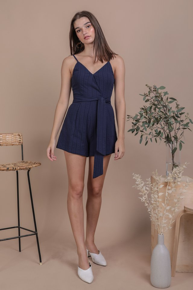 Karla Wrap Front Romper (Navy Embroidery)