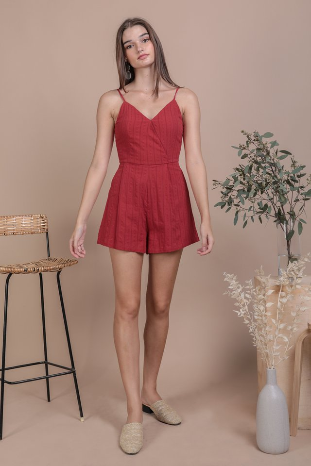 Karla Wrap Front Romper (Red Embroidery)