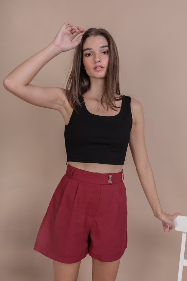 Oda Button Shorts (Crimson)