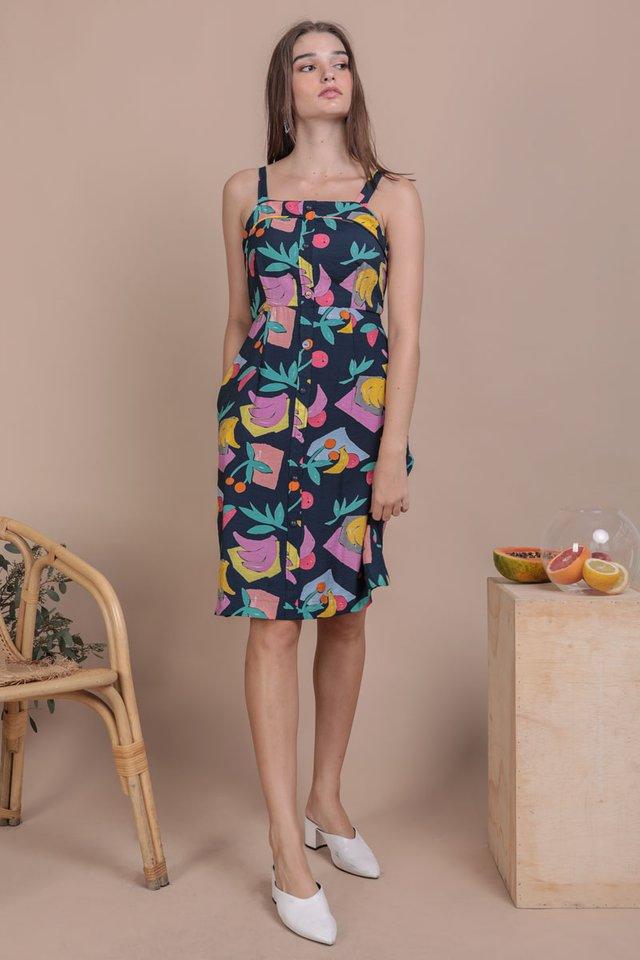 Tasmin Button Down Dress (Navy Tropical)