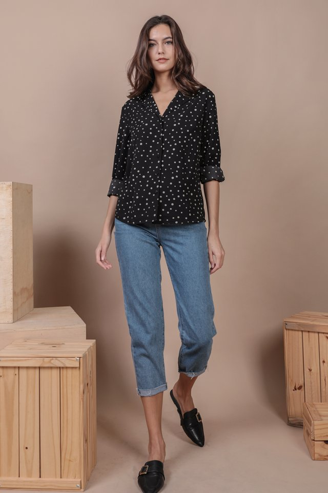 Rios Button Blouse (Black Dots)