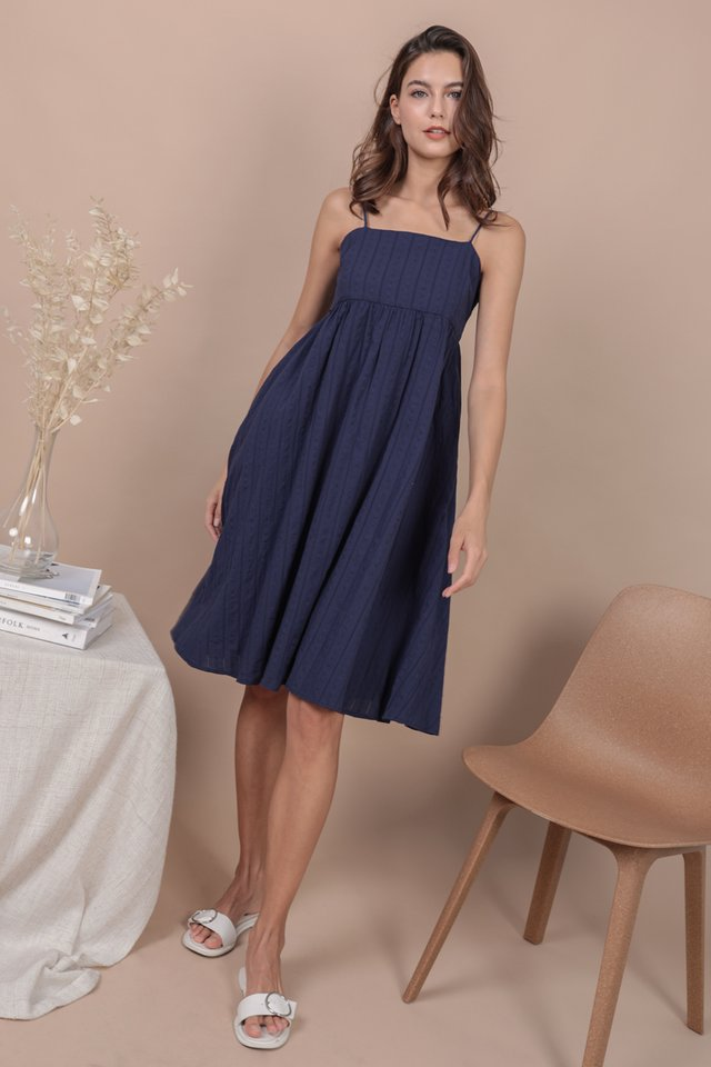Renee Babydoll Dress (Navy Embroidery)