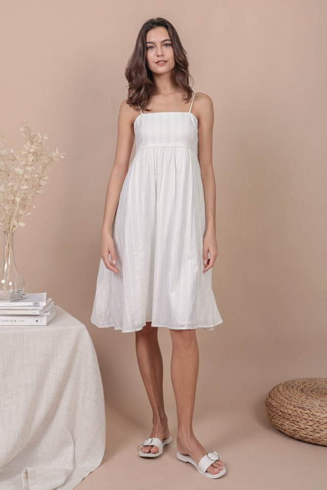 Renee Babydoll Dress (White Embroidery)