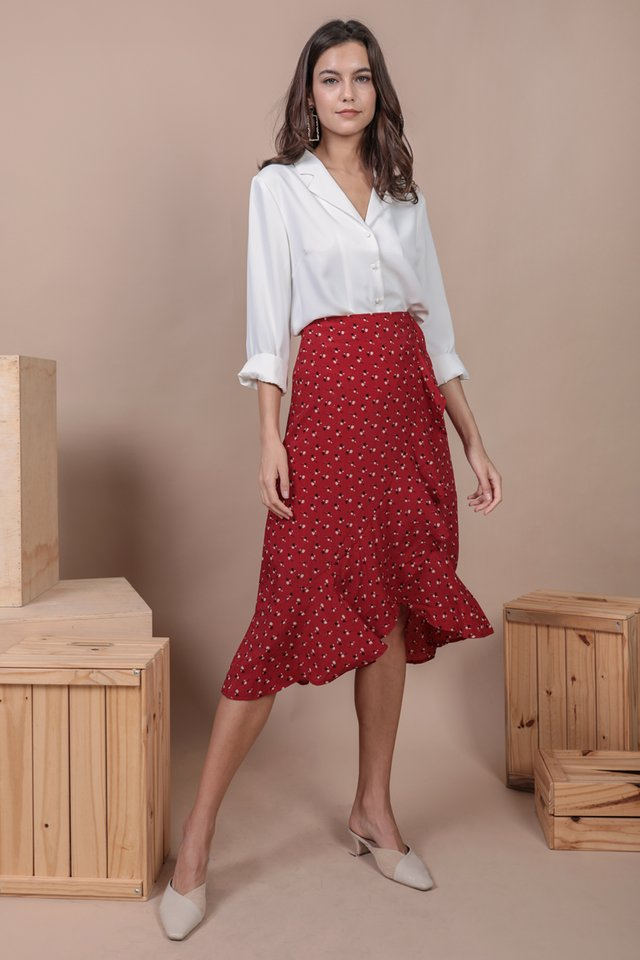 Destiny Ruffles Skirt (Red Rosebuds)