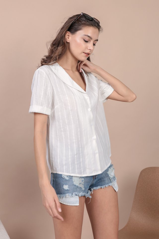 Oliver Collared Blouse (White Embroidery)