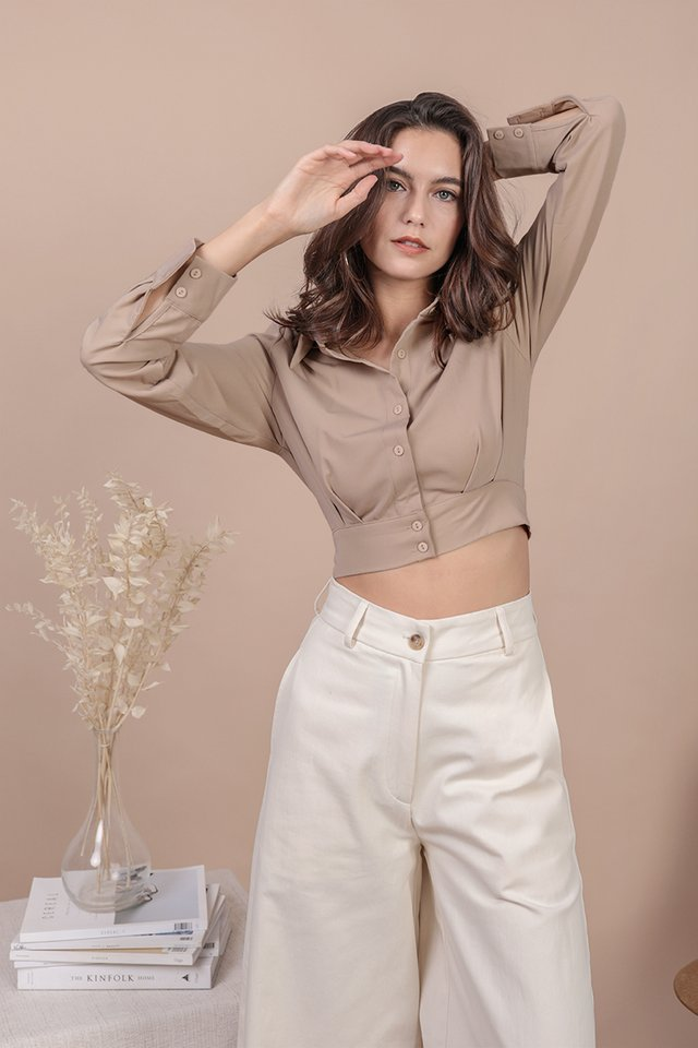 Sami Cropped Shirt (Khaki)