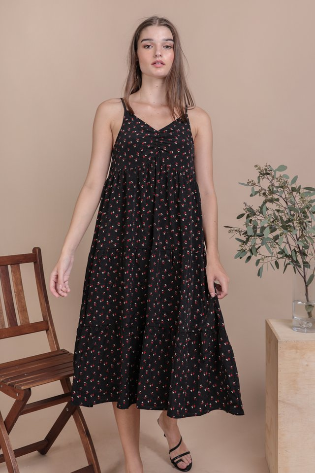 Maritha Tiered Midi Dress (Black Rosebuds)