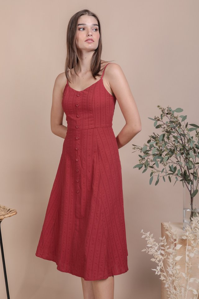 Libby Midi Dress (Red Embroidery)