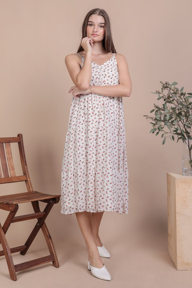 Maritha Tiered Midi Dress (White Rosebuds)
